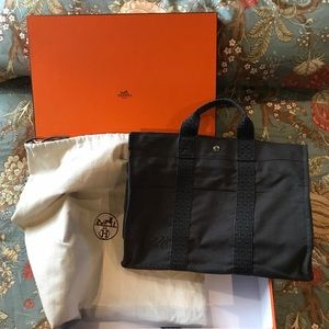 Authentic HERMES HERLINE  CLOTH SATCHEL Tote Bag.